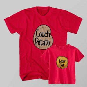 Kaos Couple Anak dan Ayah Couch Potato, Tater Tot by DistroJakarta.com