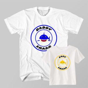 Kaos Couple Anak dan Ayah Daddy Shark, Baby Shark Doo Doo Do by DistroJakarta.com