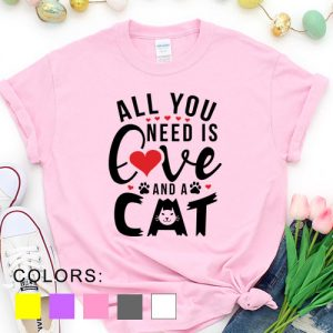 Kaos Valentine All You Need Is Love And A Cat Pet Lover by DistroJakarta.com