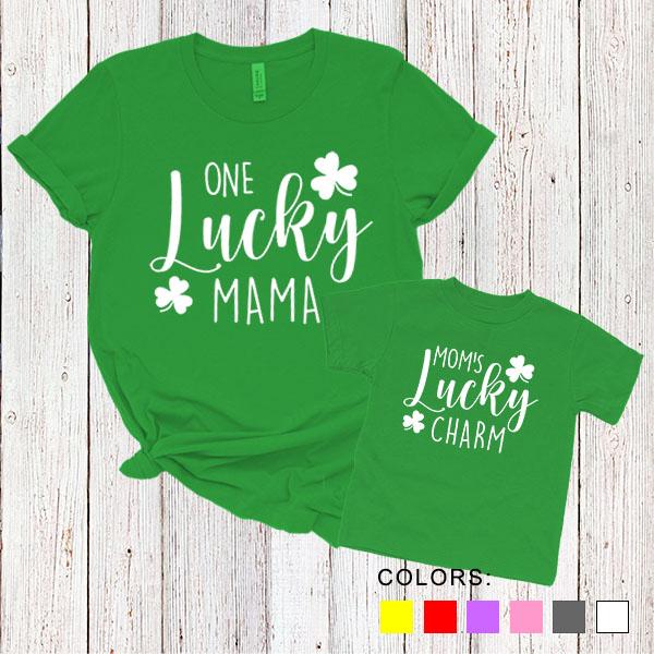 Kaos Couple Ibu dan Anak Mom Daughter T-Shirts One Lucky Mama. Mom's Lucky Charm. by DistroJakarta.com