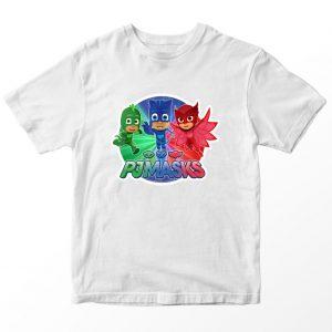 Kaos Kartun PJ Mask , Warna Putih Umur 1-10 Tahun by DistroJakarta.com