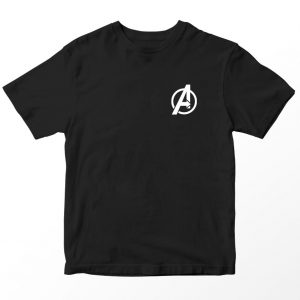 Kaos Superhero Marvel Avengers Logo, Warna Hitam Pocket Umur 1-10 Tahun by DistroJakarta.com