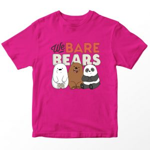 Kaos We Bare Bears Baby Bear Logo, Warna Fuschia Pink Umur 1-10 Tahun by DistroJakarta.com