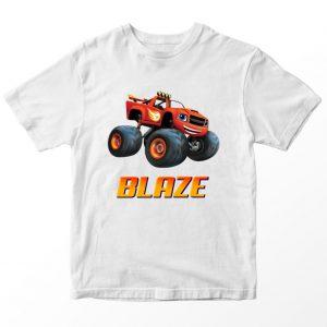Kaos Blaze and Monster Machines Blaze Custom Nama, Putih 1-10 Tahun by DistroJakarta.com