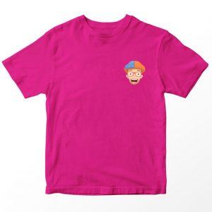 Kaos Blippi Pocket, Warna Fushia Pink Umur 1-10 Tahun by DistroJakarta.com