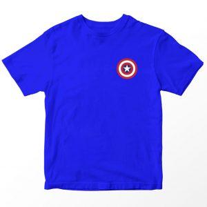 Kaos Superhero Marvel Captain America Logo, Warna Biru Pocket Umur 1-10 Tahun by DistroJakarta.com
