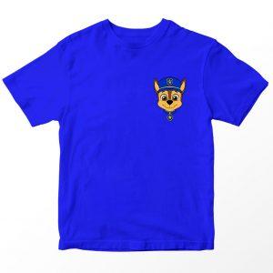 Kaos Paw Patrol Chase, Warna Biru Pocket Logo 1-10 Tahun by DistroJakarta.com