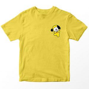 Kaos BT21 BTS Chimmy Pocket, Warna Kuning Pocket Umur 1-10 Tahun by DistroJakarta.com
