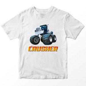 Kaos Blaze and Monster Machines Crusher Custom Nama, Putih 1-10 Tahun by DistroJakarta.com