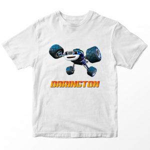Kaos Blaze and Monster Machines Darington Custom Nama Putih 1-10 Tahun by DistroJakarta.com