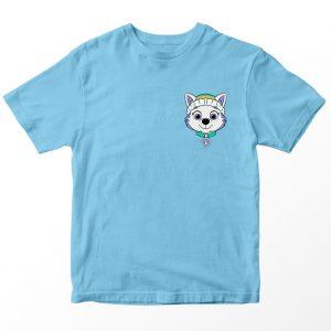 Kaos Paw Patrol Everest, Warna Biru Muda Pocket Logo 1-10 Tahun by DistroJakarta.com