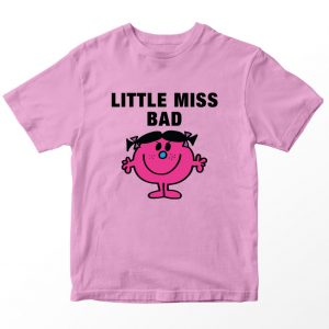 Kaos Little Miss Bad Kartun, Warna Pink Umur 1-10 Tahun by DistroJakarta.com