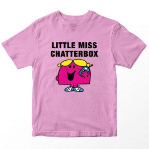 Kaos Little Miss Chatterbox Kartun, Warna Pink Umur 1-10 Tahun by DistroJakarta.com