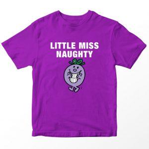 Kaos Little Miss Naughty Kartun, Warna Ungu Tua 1-10 Tahun by DistroJakarta.com