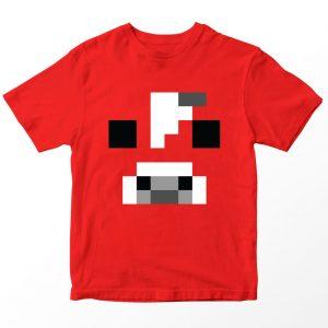 Kaos Minecraft Mooshroom, Warna Merah, Umur 1-10 Tahun by DistroJakarta.com