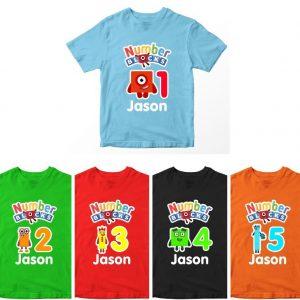 Kaos Number Blocks Birthday Custom Angka Umur 1-10 Tahun by DistroJakarta.com