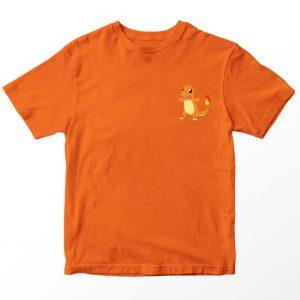 Kaos Pokemon Charmander Pocket Logo, Warna Oranye Umur 1-10 Tahun by DistroJakarta.com