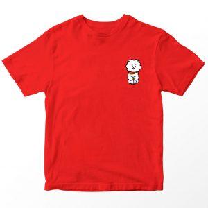 Kaos BT21 BTS RJ Pocket, Warna Merah Pocket Umur 1-10 Tahun by DistroJakarta.com