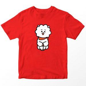 Kaos BT21 BTS Rj, Warna Merah Umur 1-10 Tahun by DistroJakarta.com