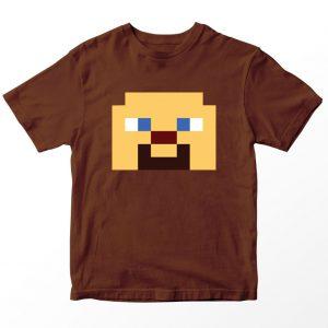 Kaos Minecraft Steve, Warna Coklat, Umur 1-10 Tahun by DistroJakarta.com