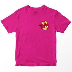 Kaos Angry Birds Fucshia, Red Bird Pocket Logo Umur 1-10 Tahun by DistroJakarta.com