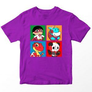 Kaos Ryan's World Friends Anak, Warna Ungu Umur 1-10 Tahun by DistroJakarta.com