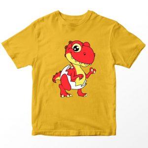 Kaos Ryan's World Shelldon The Baby Dinosaur Anak, Warna Kuning Gold Umur 1-10 Tahun by DistroJakarta.com